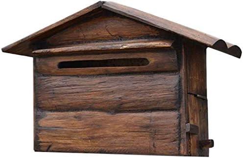 CXMYX メールボックスのソリッドウッドハウスレターボックスヴィラ屋外防水木製レトロなポストボックスコメント苦情ボックスウォールマウント 4YX02