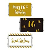 Sweet 16 – Gold 16th Birthday Miniatures Candy Bar Wrapper Stickers, Boy's Party Favor Labels, 54 Count