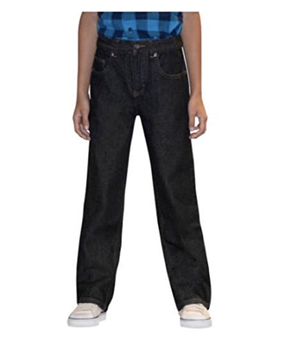 (Faded Glory Boy's Relaxed Fit Blue Jeans with Adjustable Waist (10R, Black))
