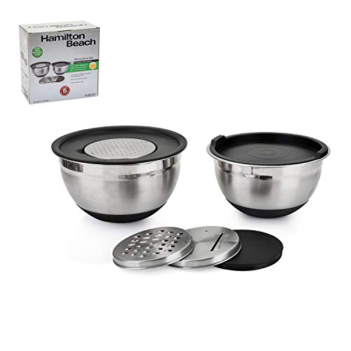 Hamilton Beach HJB101 Stainless Steel Mixing Bowl Set with graters, 2, silver-black