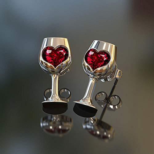 Earrings Ruby Glass (Earrings Valentines Day Gift soAR9opeoF Vintage Women Love Heart Faux Ruby Inlaid Wine Glass Ear Studs Earrings Jewelry - Silver)