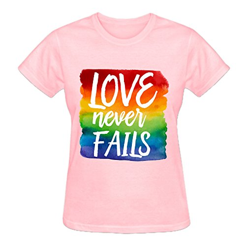 MEGANHO Personalized Love Never Fails Woman T Shirt Cotton Round Collar Pink
