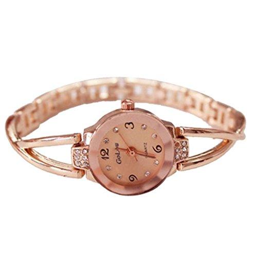 Women Rose Gold Plated Alloy Rhinestone Dial Bracelet Wrist Watch Gift Gold - 8