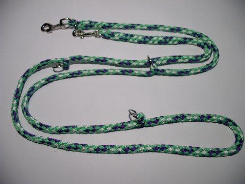 Hundeleine Doppelleine 2,80m 4fach verstellbar Reno apfelgrün-lila-weiß