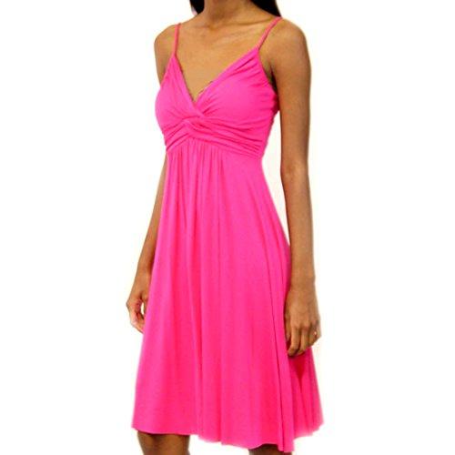 Crazy4Bling Fucia Spaghetti Strap Medium Length Dress with Twist Shirring Detail, Medium