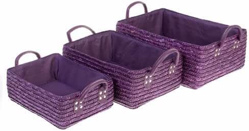 3 cestas de cuarto de baño - mimbre - Color Morado: Amazon ...