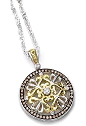 Charles Krypell Sterling Silver and Brown and White Diamond Pendant