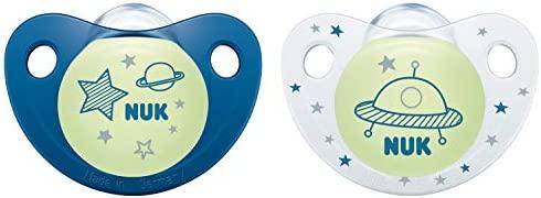 NUK 10175222 Night & Day - Chupete de silicona (0-6 meses, 2 unidades), color azul