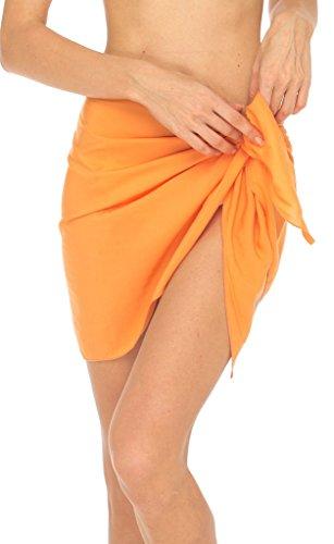 SHU-SHI Women's Mini Sarong Swimsuit Swimwear Bikini Cover Up Paretto Wrap ORANGE, -