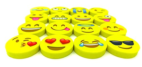 OHill Pack of 128 Pack Emoji Pencil Erasers 16 Emoticons Novelty Erasers for Party Favors School Classroom Prizes Rewards by OHill (Image #3)