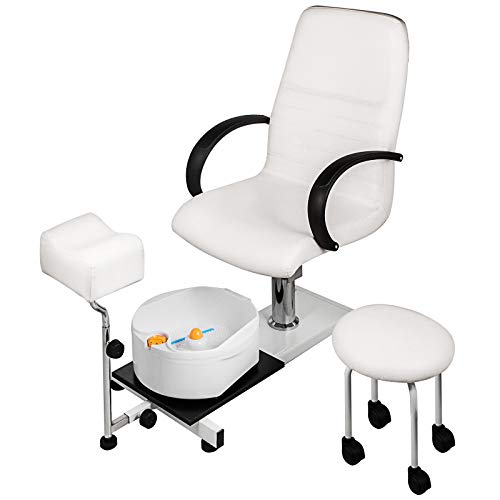 LOVSHARE Hydraulic Lift Adjustable Spa Pedicure Unit with Easy-Clean Bubble Massage Footbath White