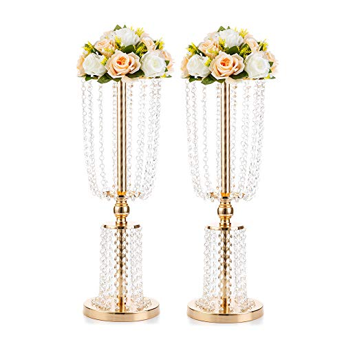 "2 Pcs 23.6"" Gold Vases for Centerpieces Tall Crystal Metal Vase Flower Stand Holders Wedding Centerpiece Chandelier for Reception Tables Wedding Supplies(Gold, 2 Layer Crystal Large Size)"
