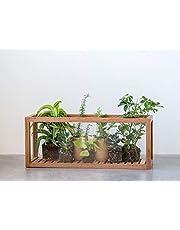 Creative Co-Op Rectangle Mango Wood & Glass Display Case, Brown