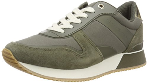 Lifestyle 011 Hilfiger Low Tommy Green Sneaker top Material Women''s Olive Mixed dusty wfTTqPI