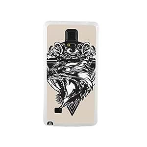 CaseCityLiu - Wolf and Evil Eye Animal Pattern Design White Bumper Plastic+TPU Case Cover for Samsung Galaxy Note4