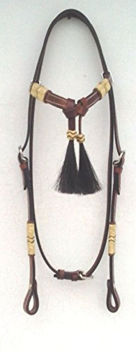 - RSI Horse Hair Light Western Leather Headstall Rawhide Futurity Knot Browband Tack