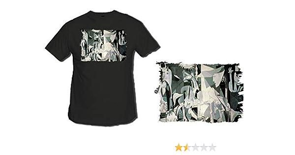 MERCHANDMANIA Camiseta Negra EL GUERNICA DE Pablo Picasso Tshirt