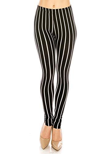 The Leggings Gallery Women's Printed Fashion Leggings Ultra Soft Solid & Patterned - Regular/Plus Sizes (Mod Stripes, -