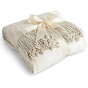 Luxury Pure 100% Mulberry Silk Throw, Genuine Natural 100% Silk Oversized Super Soft Plush Blanket in Ivory or Beige (Ivory)