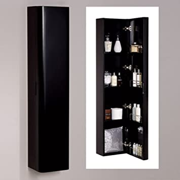 1500mm black wall mounted bathroom cabinet storage unit cupboard