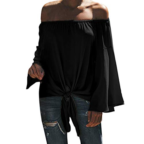 vermers Fashion Women's Off Shoulder Bell Sleeve Shirts Tops Casual Solid Tie Knot T-Shirt Blouses(2XL, Black)