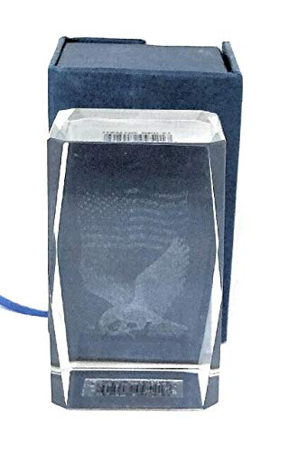 3D Laser Etched Glass Tower Paper Weight 3x2x2 Beveled Eagle with American Flag