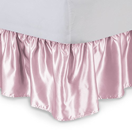 (Satin Ruffled Bed Skirt with Platform, Full, Pink, 14