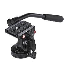 Andoer Handgrip Video Photography Fluid Drag Hydraulic Tripod Head for Canon Nikon DSLR Camera Camcorder Max. Load Capacity 5kg / 11Lbs Aluminum Alloy