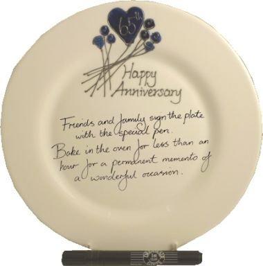 65th Wedding (Blue Sapphire) Anniversary: Plate (Flower) (Rd) ()
