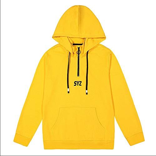 Maglione Maniche Letterale Shopping Cappuccio A Da Uomo Lunghe Go Stampa Con Yellow Easy qgEIwSBE