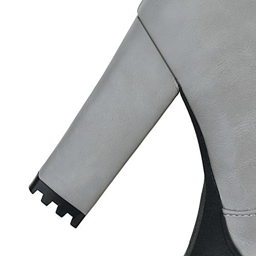 Toe High Pu Zipper Boots Womens Closed AllhqFashion Gray Solid Round Heels 0pqwxnYf