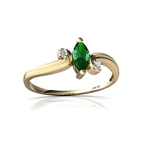 14kt Yellow Gold Lab Emerald and Diamond 6x3mm Marquise Ocean Waves Ring - Size 4.5