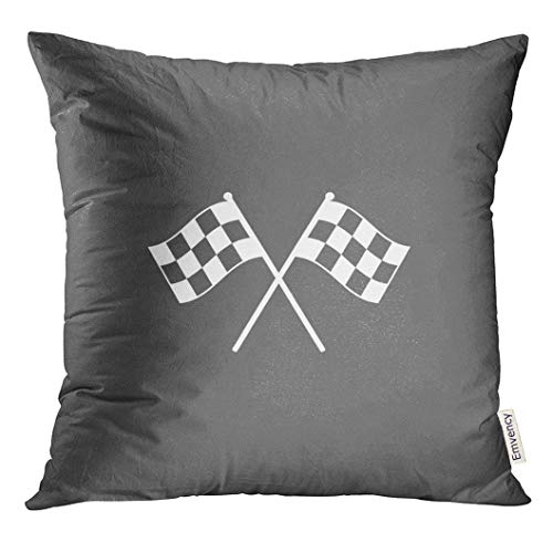 UPOOS Throw Pillow Cover Black Race Racing Flag Icon White Chequered Formula Decorative Pillow Case Home Decor Square 16x16 Inches Pillowcase (Go Kart With Cover Zipper)