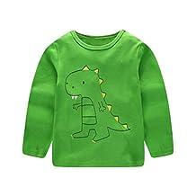 1-6 Years Children Kids Boys Girls Cartoon Dinosaur Print Tops Tee Shirt Casual Long Sleeve Crewneck Pullover Blouse