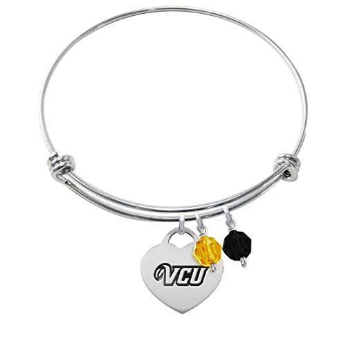 Virginia Commonwealth Rams Stainless Steel Adjustable Bangle Bracelet with Heart Charm & Crystal Accents by College Jewelry