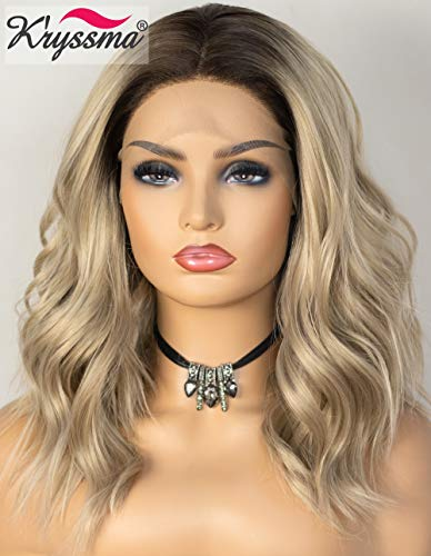 K'ryssma Ombre Blonde Lace Front Wig Bob Short Wavy Synthetic Wig with Middle Parting Dark Roots to Blonde Ombre Wig Heat Resistant