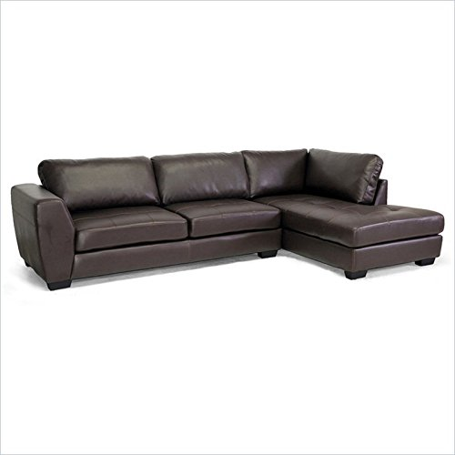 Baxton Studio Orland Bonded Leather Modern Sectional Sofa Set with Right Facing Chaise, Brown (Right Facing Chaise)