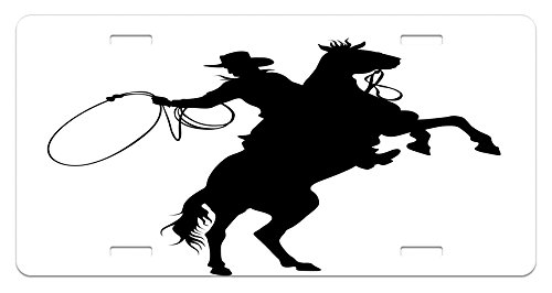 Lunarable Cartoon License Plate, Cowboy and Horse Silhouette Man with a Hat Shadow Texas Rural Illustration, High Gloss Aluminum Novelty Plate, 5.88 L X 11.88 W Inches, Black and White ()