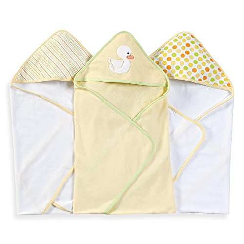 Spasilk 3 pack Soft Terry Hooded Towel Set, Yellow ()