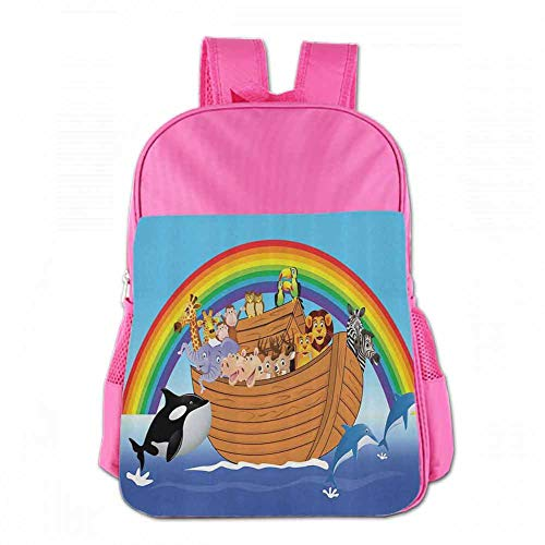 Mini Rucksack Bag, Durable Noahs Ark Decor Collection Noahs Ark with Funny Animals Dolphins Swimming Artistic Design Peru Blue Red Yellow