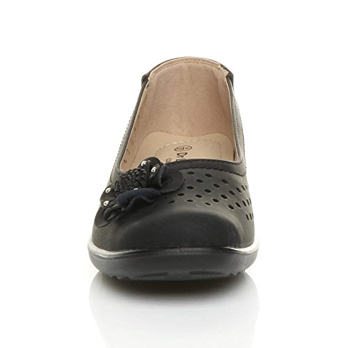 Womens Ladies Flat Grip Sole Padded Comfort Shoes Flower Summer Ballerinas Size Black ZX9mTP1
