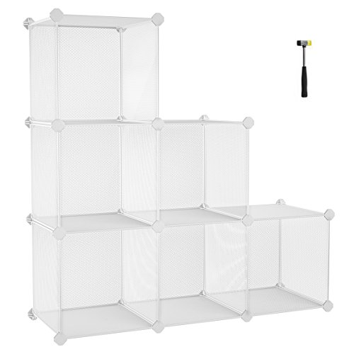 SONGMICS Storage Cubes, High-density Metal Grid, Interlocking Shelving Organizer Unit with High Load Capacity for Closet, DIY Cabinet and Bookcase with Rubber Mallet, White (Diy Shelving Unit)