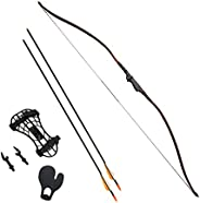 """Southland Archery Supply SAS 30-35lbs 22-29"""" Robinhood Long Bow for Adult/Youth w/Belt Quiver, Armguard,"""