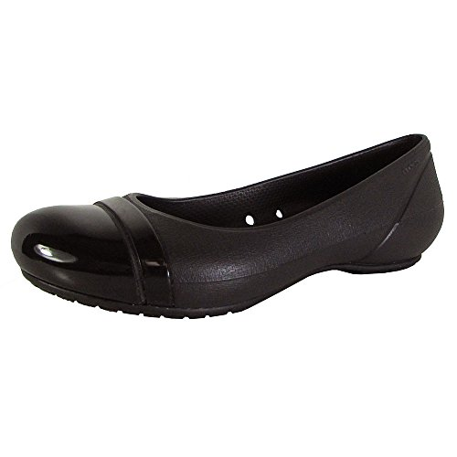 crocs Women's 12300 Cap Toe Flat,Black/Black,5 W US