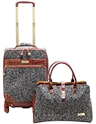 Samantha Brown Tweed 2-Piece 21 Spinner and Shoulder Bag Luggage Set - Black