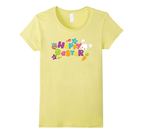 - Womens Happy Easter T-Shirt with Bunnies Eggs Flowers Carrots Small Lemon