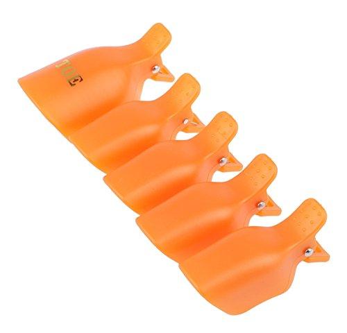 1-Set (5Pcs) Dainty Popular Toenail Clip Cap Nail Art Tips Polish UV Gel Soak Off Tool Color - Finder Shop Orange