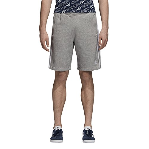 (adidas Originals Men's 3-Stripes Shorts, Medium Grey Heather,)