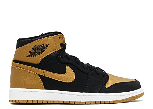 Nike Air Jordan 1 Retro High, Scarpe Sportive Uomo Black, Metallic Gold-white