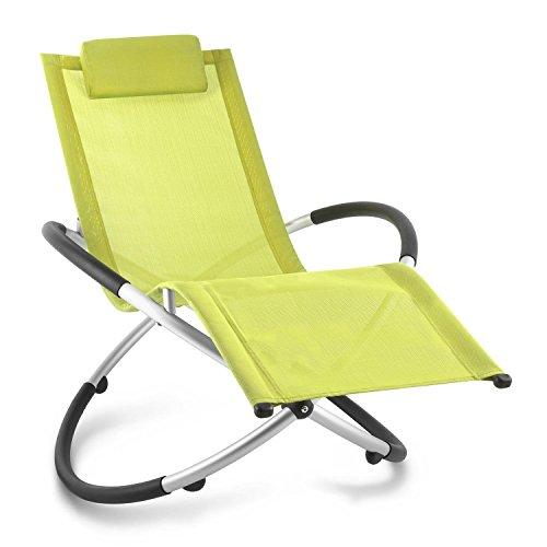 Blumfeldt Chilly Billy Liegestuhl Relaxliege Gartenstuhl Alustuhl Aluminium-Stuhl für Wohnung Balkon Garten oder Terrasse (klappbar, Schaukelstuhl, Sicherheits-Stopper, bis 180kg) grün